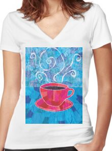 Cut and Paste and Run and Jump Coffee or Tea Women's Fitted V-Neck T-Shirt