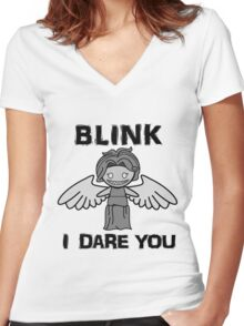 BLINK, I DARE YOU Women's Fitted V-Neck T-Shirt