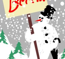 Snowman with text board and snowfall Sticker