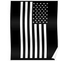 American Flag, BLACK, In Mourning, America, Americana, Stars & Stripes, White on Black, PORTRAIT, USA Poster