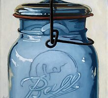 Old Ball Jar - glass still life oil painting by LindaAppleArt