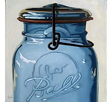 Old Ball Jar - glass still life oil painting Photographic Print