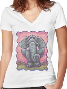 Animal Parade Elephant Women's Fitted V-Neck T-Shirt