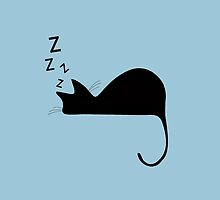 Sleeping Cat Nap Silhouette by pdgraphics