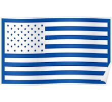 American Flag, WHITE, NAVY, Stars & Stripes, Pure & Simple, America, USA Poster