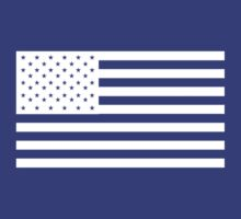 American Flag, WHITE, NAVY, Stars & Stripes, Pure & Simple, America, USA by TOM HILL - Designer