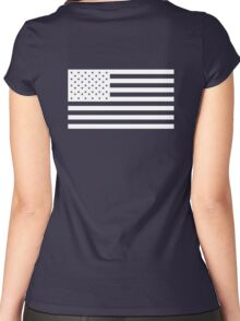 American Flag, WHITE, NAVY, Stars & Stripes, Pure & Simple, America, USA Women's Fitted Scoop T-Shirt