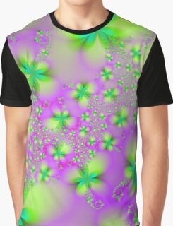 Green Yellow and Pink Abstract Flowers Graphic T-Shirt