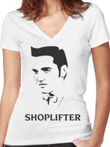 The Smiths Shoplifter Elvis Morrissey Cartoon Women's Fitted V-Neck T-Shirt