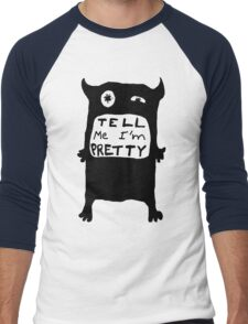 Pretty Monster Drawing in Black and White Men's Baseball ¾ T-Shirt