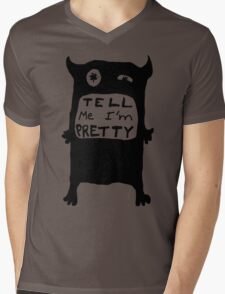 Pretty Monster Drawing in Black and White Mens V-Neck T-Shirt