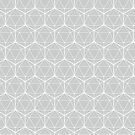 Icosahedron Pattern White on Soft Gray by Beth Thompson