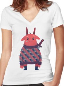 Sword Bunny Women's Fitted V-Neck T-Shirt