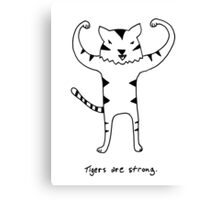 Tigers are Strong Black and White Drawing Canvas Print