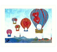 Balloons Over Town (Mixed Media) Art Print