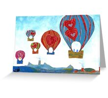 Balloons Over Town (Mixed Media) Greeting Card