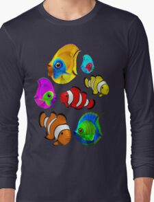 Tropical Fishes Pattern Long Sleeve T-Shirt