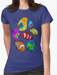 Tropical Fishes Pattern Womens Fitted T-Shirt