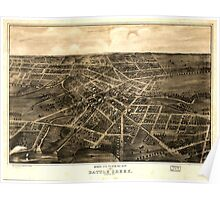 Panoramic Maps Bird's eye view of the city of Battle Creek Calhoun Co Mich Poster