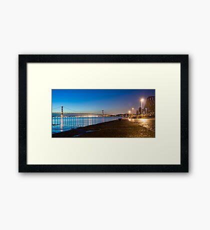 Firth of Forth Bridges at night Framed Print