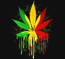 Marijuana Leaf Rasta Colors Dripping Paint T-Shirt