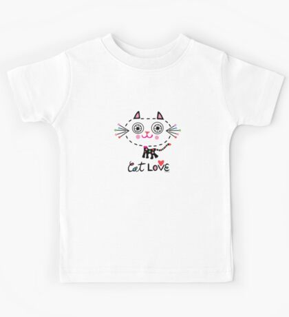 Cat Love - heart Kids Clothes