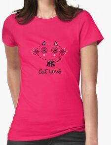 Cat Love - heart Womens Fitted T-Shirt