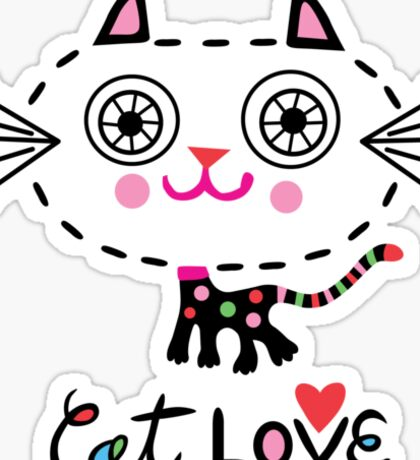 Cat Love - heart Sticker