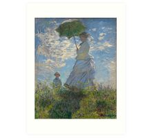 Woman with a Parasol - Madame Monet and Her Son by Claude Monet Art Print
