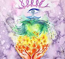 Hands and Heart Chakra Doodle by Chris Kfoury