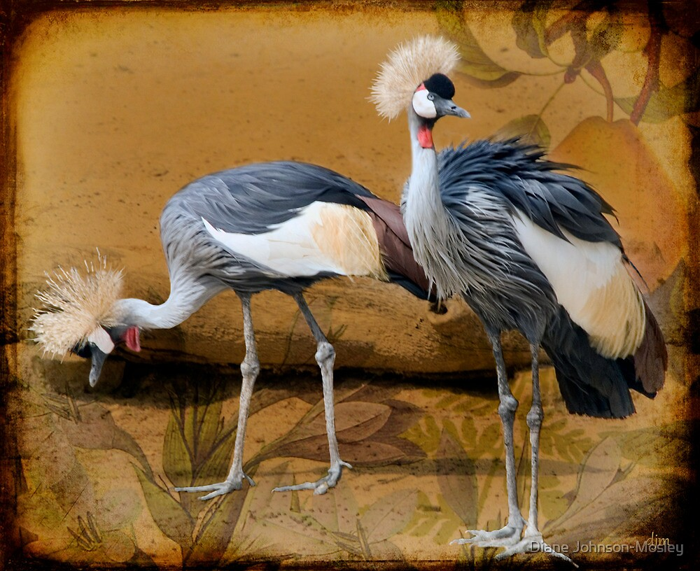 Pair Of Cranes And A Pear by Diane Johnson-Mosley