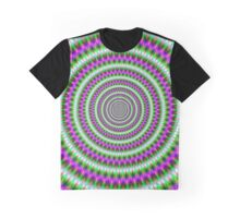 Green  and Pink Toothed Rings Graphic T-Shirt
