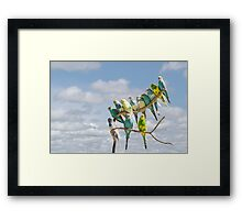 Parakeets perched on a branch againts a cloudy blue sky Framed Print