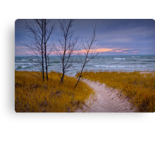 Sunset Photograph of a Trail to the Beach Canvas Print