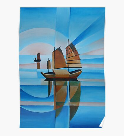 Soft Skies, Cerulean Seas and Cubist Junks Poster