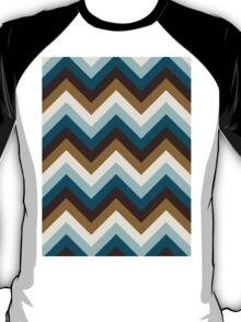 Funky Zigzag Pattern Teals Brown Gold Cream T-Shirt