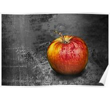 Red Apple on Gray Background Poster