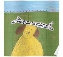 Yellow Dog with bone Poster