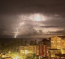 Lightning strikes the ocean off Manly beach Australia by Gary Blackman
