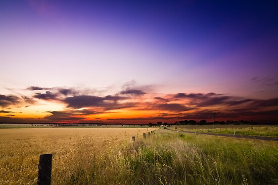 Sunset Over The Wheat Field by Tim Swinson