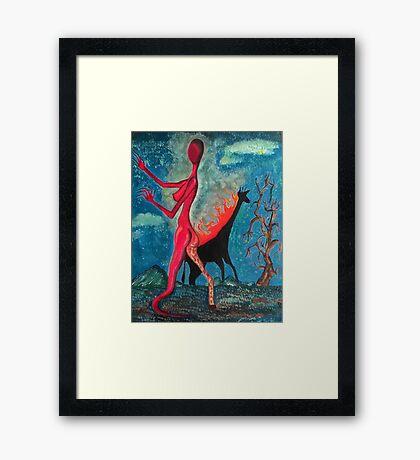 The Burning Giraffe Interpretation Framed Print