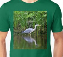 Grey Heron reflected Unisex T-Shirt