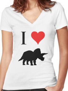 I Love Dinosaurs - Triceratops Women's Fitted V-Neck T-Shirt