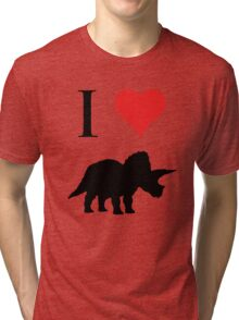 I Love Dinosaurs - Triceratops Tri-blend T-Shirt