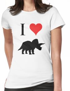 I Love Dinosaurs - Triceratops Womens Fitted T-Shirt