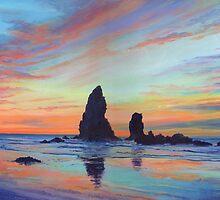 Haystack Rock, Canon Beach. USA by Maureen Whittaker