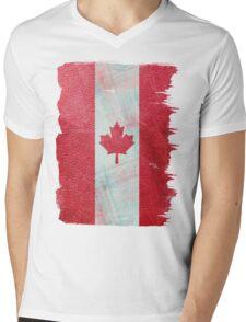 Canadian flag  leather Mens V-Neck T-Shirt