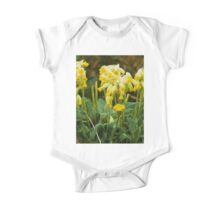 Cowslips with a liquid lines texture One Piece - Short Sleeve