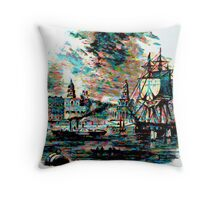 River Traffic at Greenwich, London circa 1800 Throw Pillow
