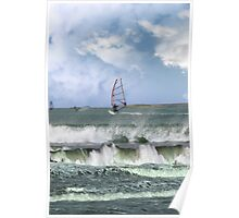 many surfers windsurfing in a storm Poster